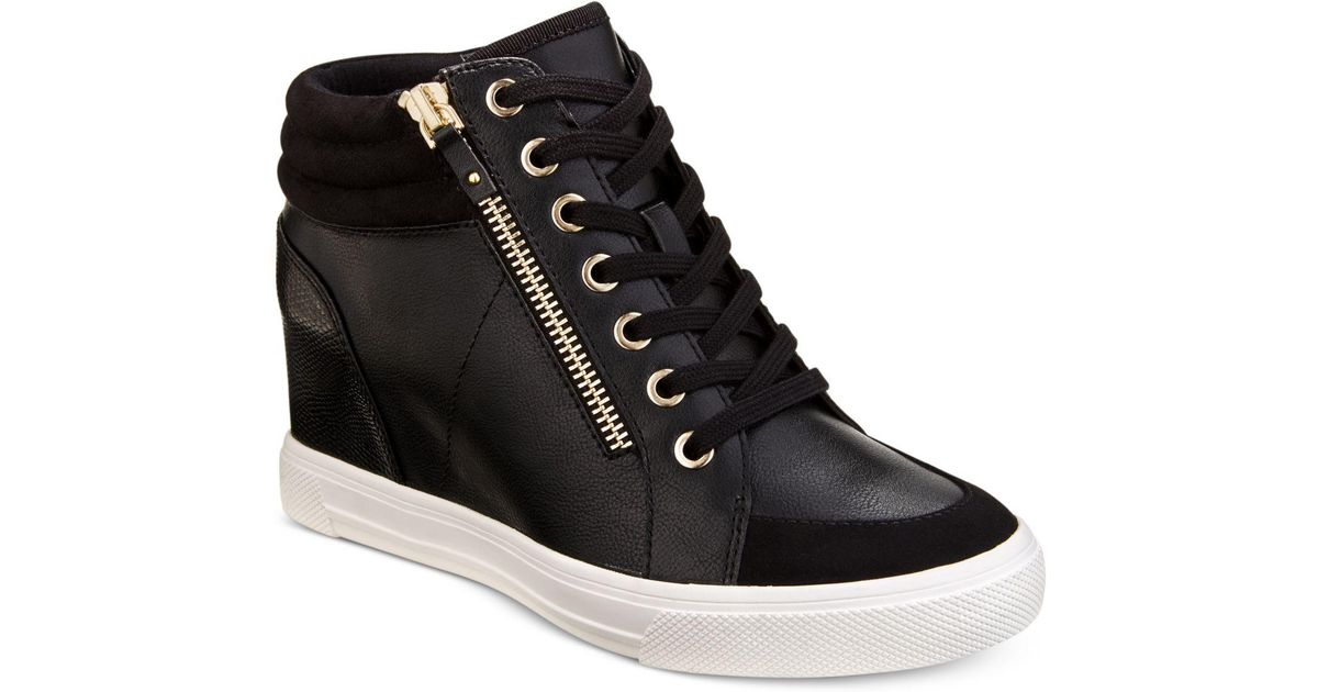 958b752f6ee Lyst - ALDO Kaia Lace-up Wedge Sneakers in Black - Save 31%