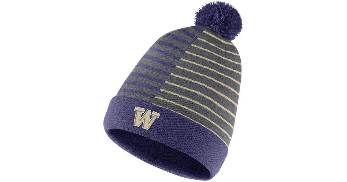 999a3383615ed Lyst - Nike Washington Huskies Striped Beanie Knit Hat in Blue for Men