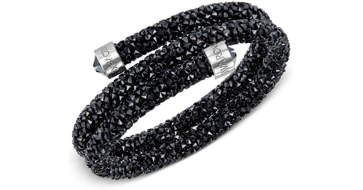 Lyst - Swarovski Silver-tone Dark-hued Crystaldust Wrap Bracelet in Black -  Save 8% 6e5674f32