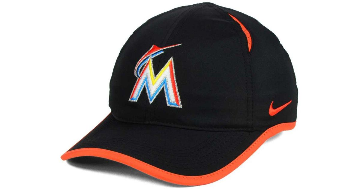 9aeb3a4c9d47 Lyst - Nike Miami Marlins Dri-fit Featherlight Adjustable Cap in Black
