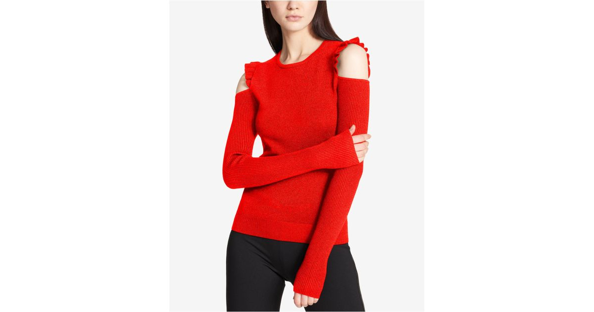 85cdc51c52c86d Lyst - DKNY Ruffled Cold Shoulder Sweater in Red