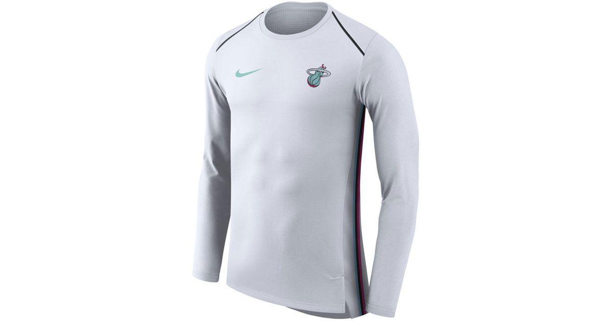 sale retailer 391d9 7d93d Nike White Miami Heat City Edition Shooting Shirt for men