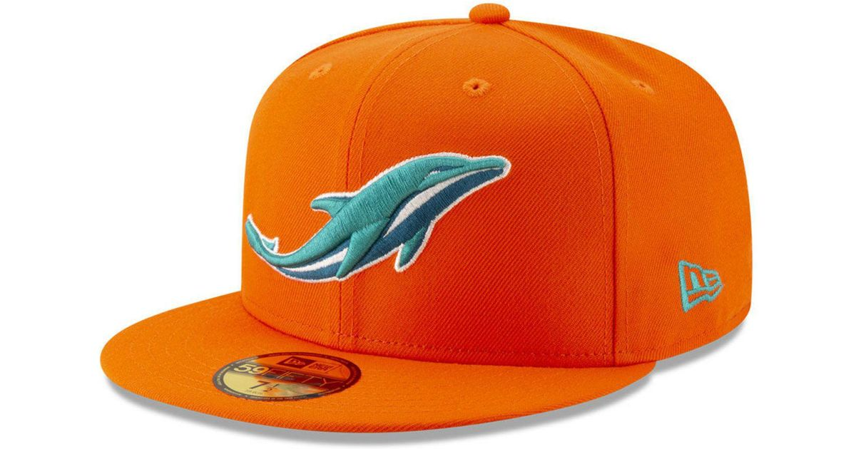646b6f09 KTZ Orange Miami Dolphins Logo Elements Collection 59fifty Fitted Cap