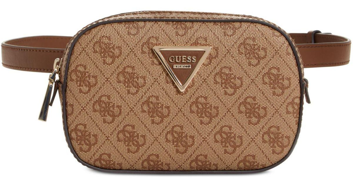 Guess Varsity Pop Signature Belt Bag In Brown Lyst