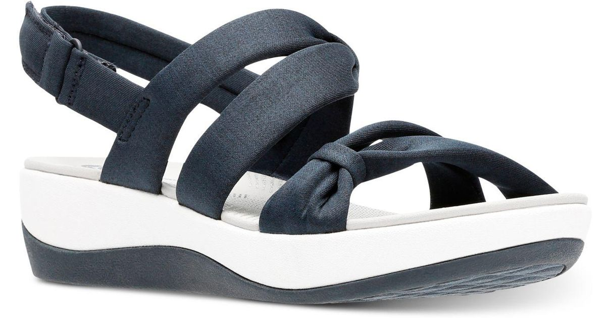 Clarks Arla Wedge Sandals Blue Mae Cloudsteppers AS4c5RjqL3