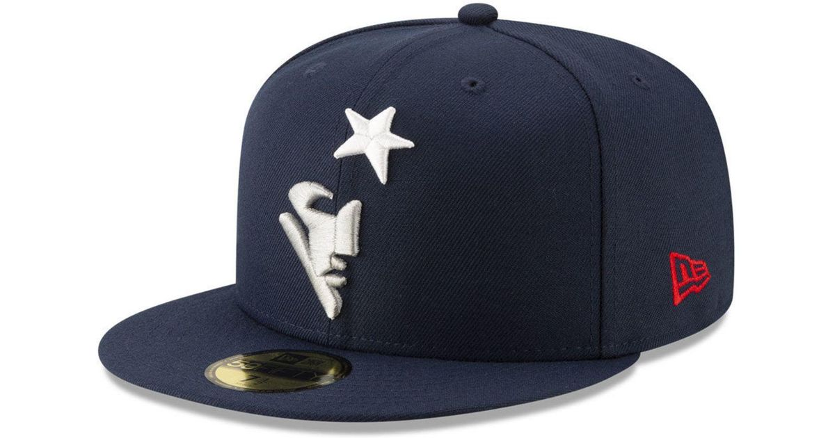 05538901 KTZ Blue New England Patriots Logo Elements Collection 59fifty Fitted Cap