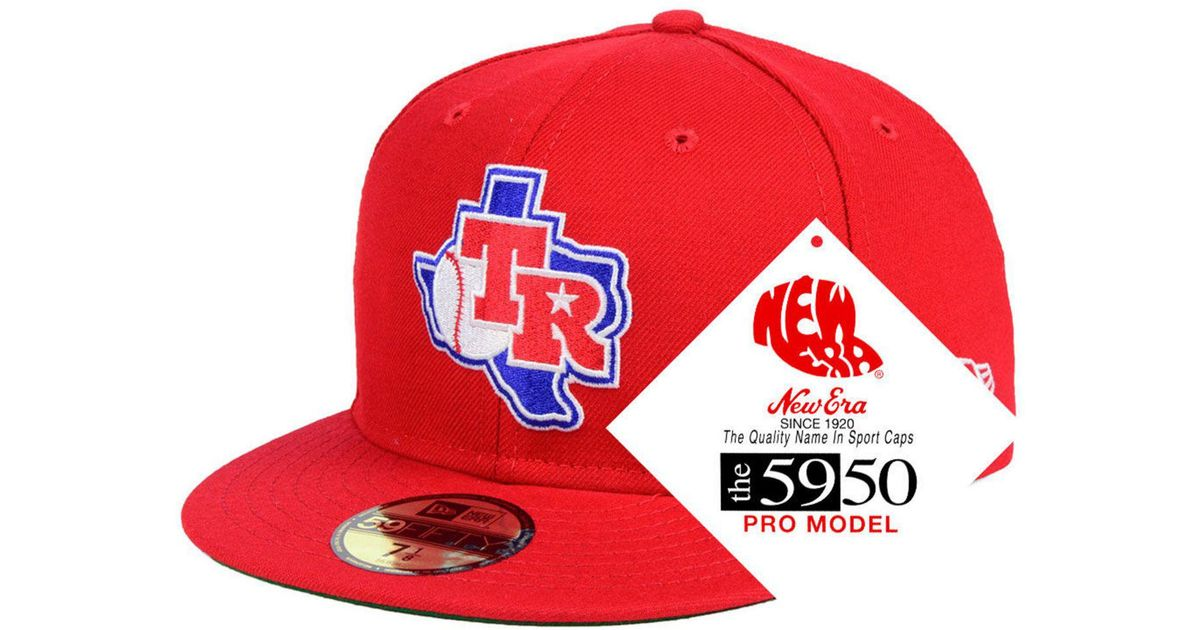 a02b6791 KTZ Red Texas Rangers Retro Stock 59fifty Fitted Cap for men