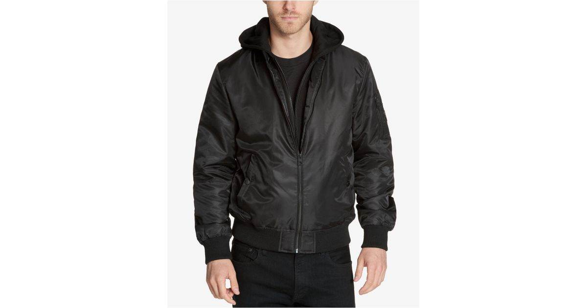 1e52325c4 Guess Black Men's Bomber Jacket With Removable Hooded Inset for men