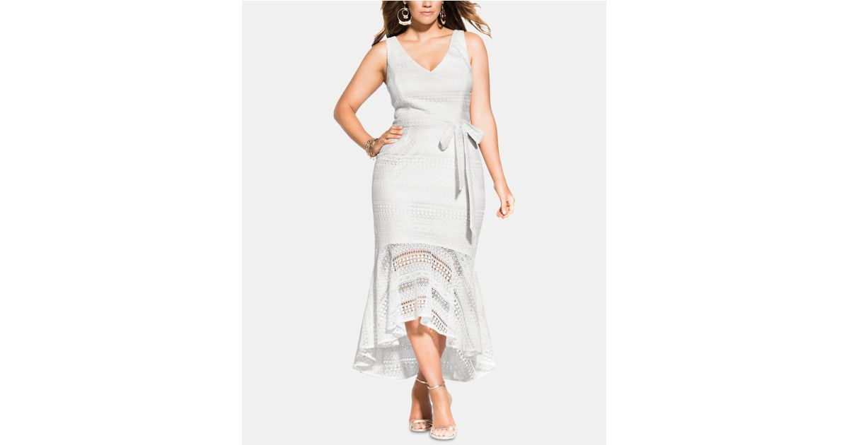 City Chic White Trendy Plus Size Simmer Lace Mermaid Dress