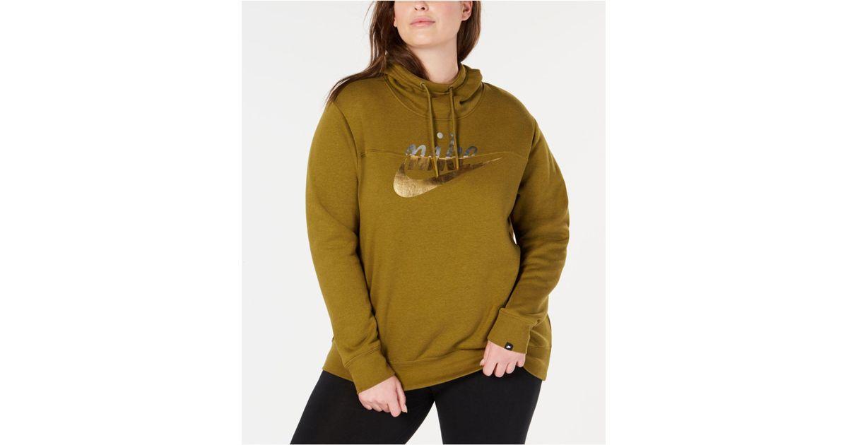 d4fbd76f77a28 Lyst - Nike Plus Size Sportswear Rally Metallic-logo Hoodie in Green