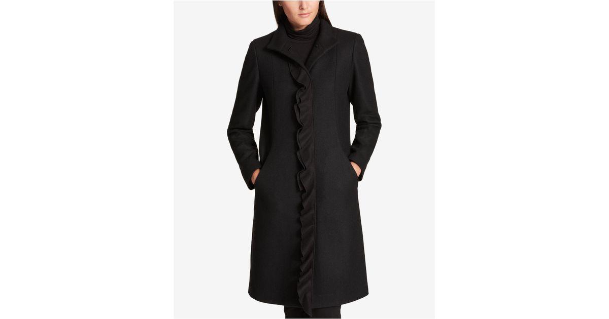 c26941f18bc Lyst - DKNY Ruffle-trim Wool-blend Walker Coat in Black