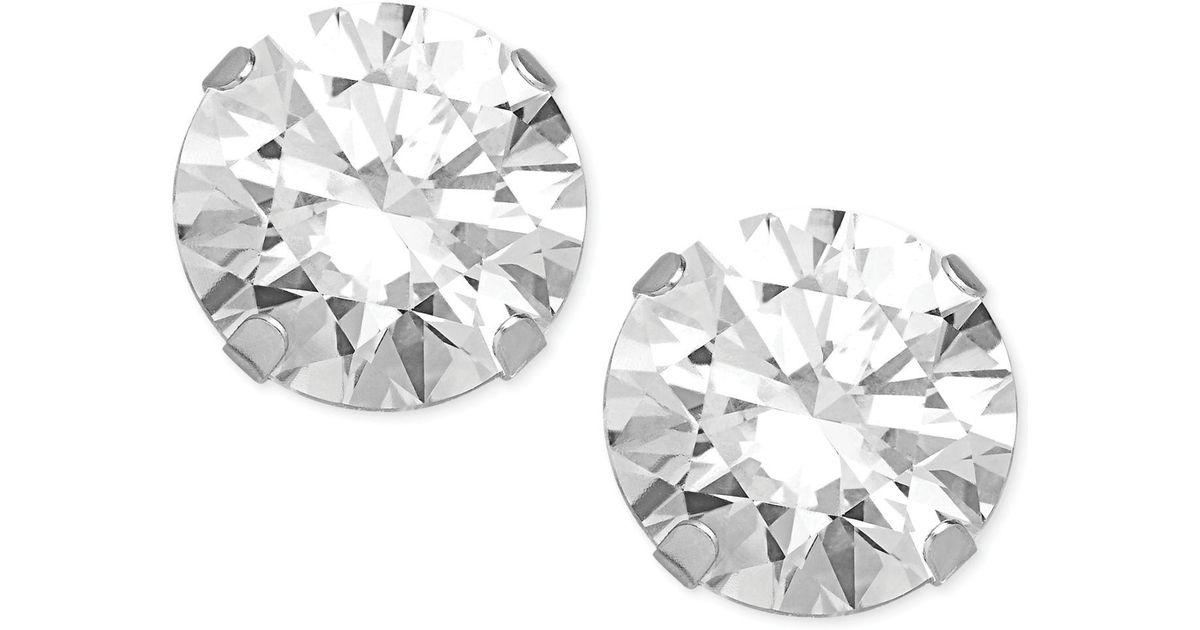 1c06ae572 Lyst - Macy's Swarovski Zirconia Round Stud Earrings In 14k White Gold (2  Ct. T.w.) in Metallic