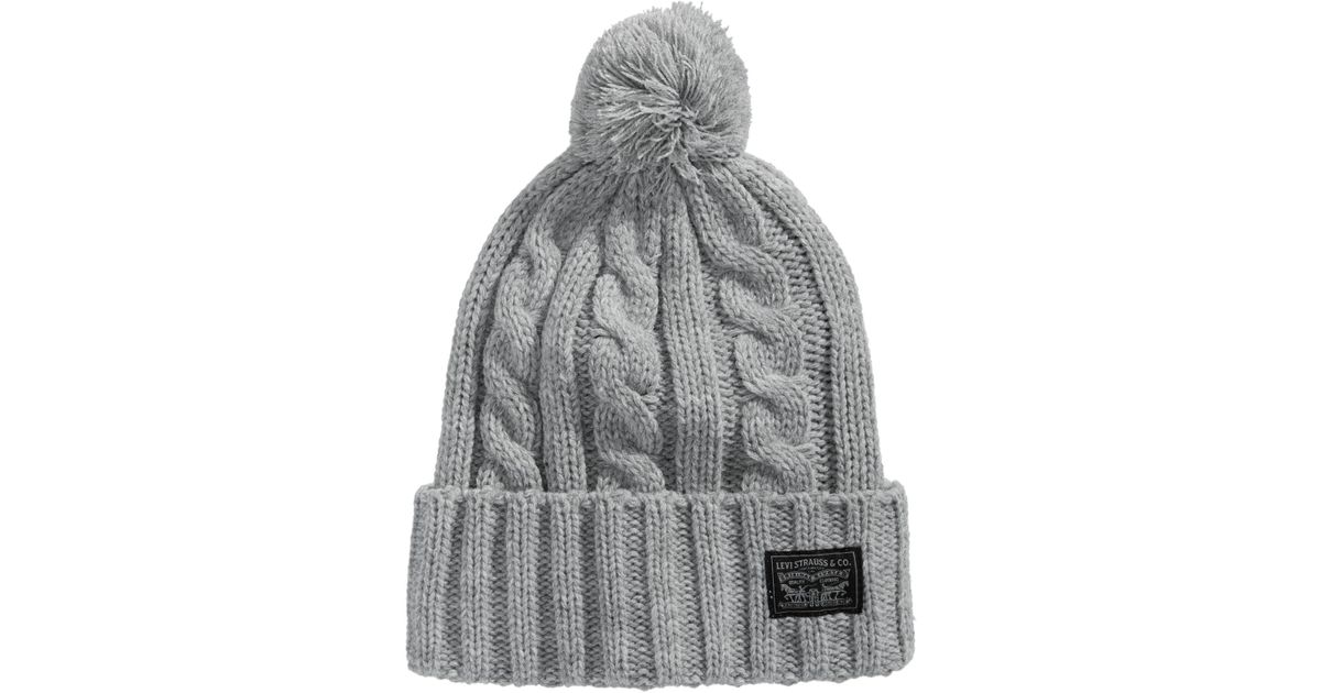 4168798753d0 Levi's Men's Pom Pom Cable-knit Beanie in Gray for Men - Lyst