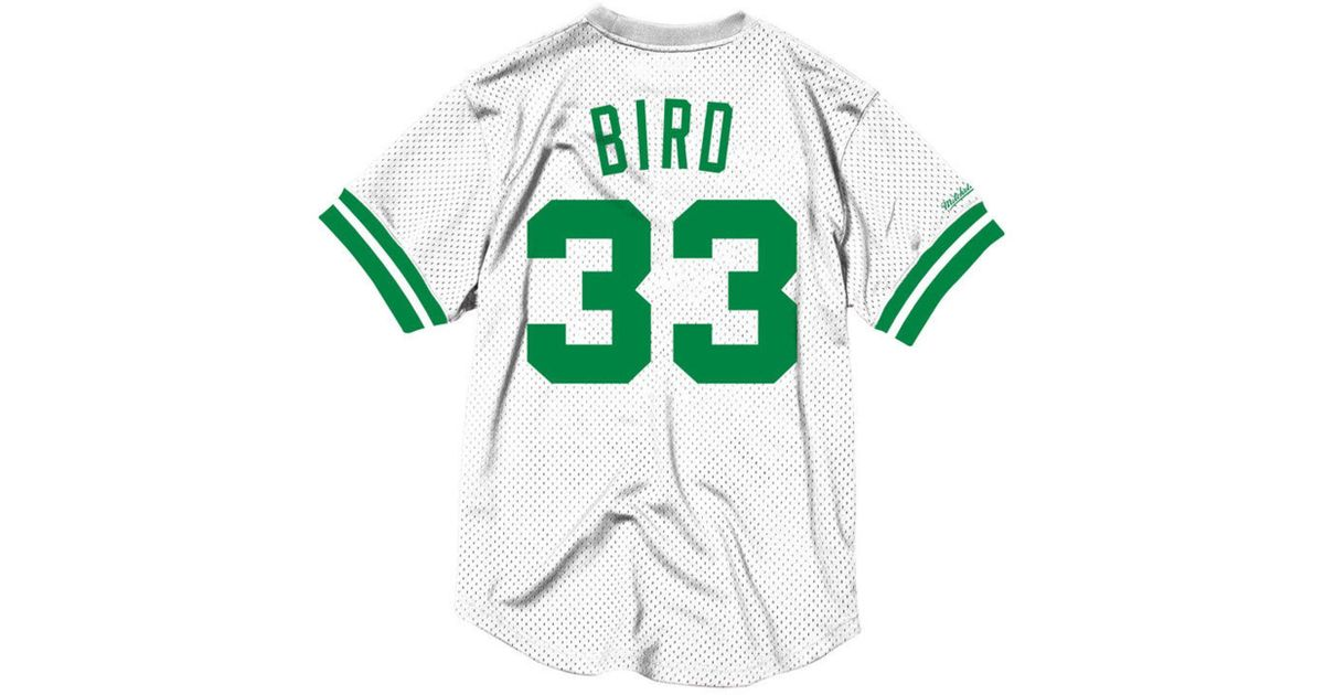 fcbac9709 Lyst - Mitchell   Ness Larry Bird Boston Celtics Name And Number Mesh  Crewneck Jersey in White for Men