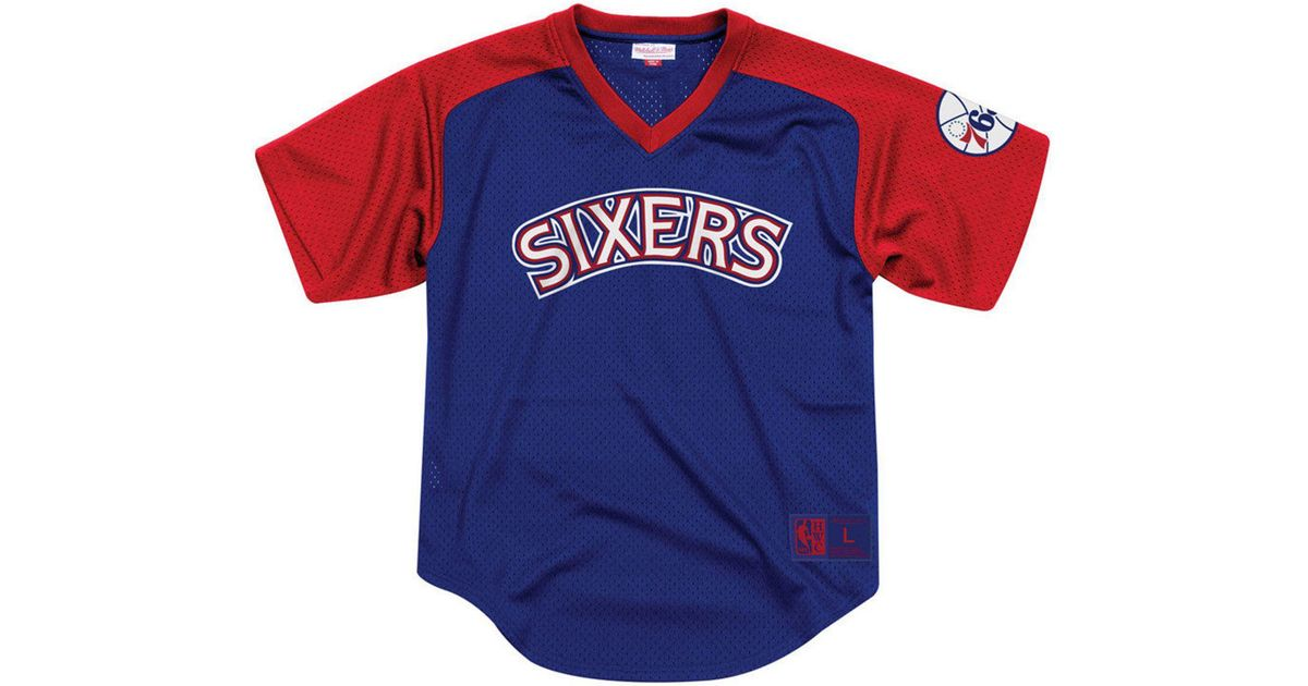 promo code 69834 a1b50 Mitchell & Ness Blue Philadelphia 76ers Final Seconds Mesh V-neck Jersey  for men