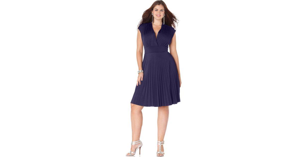 Lyst Soprano Plus Size Dress Cap Sleeve Pleated Empire In Purple