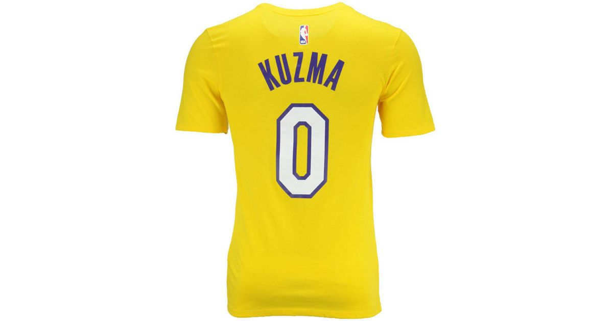 cf6ab19c07e Nike Kyle Kuzma Los Angeles Lakers Icon Player T-shirt in Yellow for Men -  Lyst