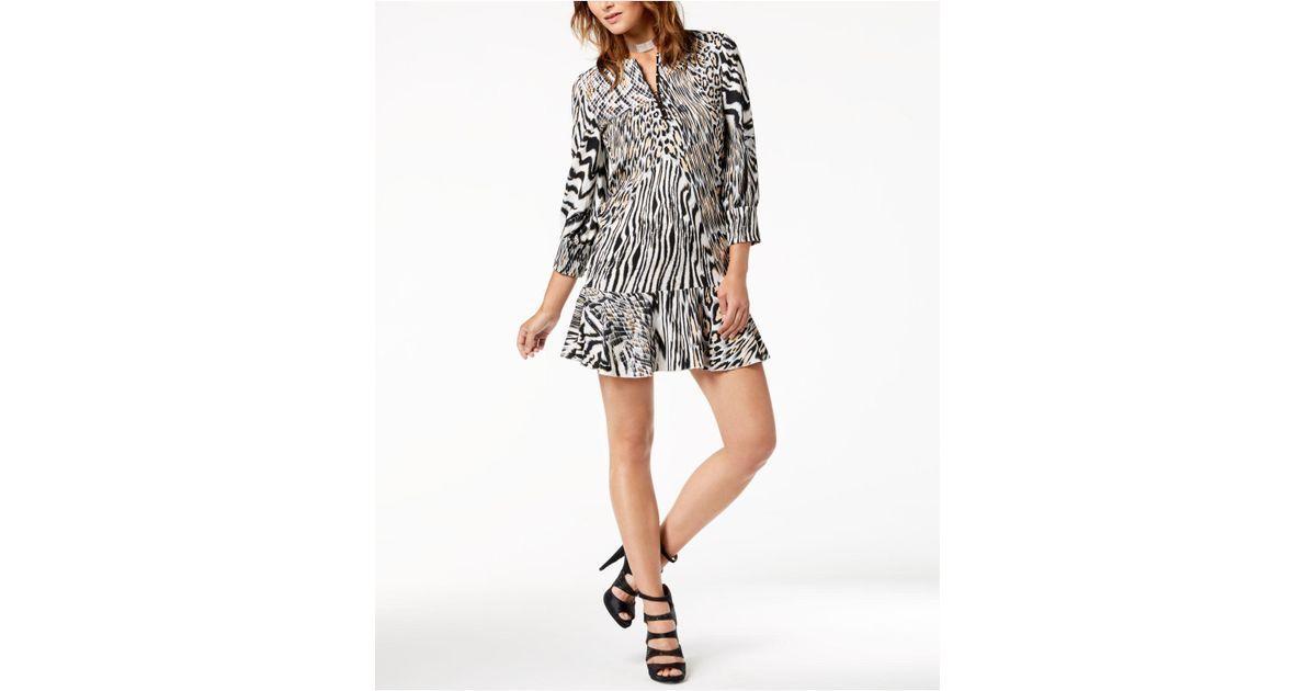 aad6b9040a0 Lyst - Just Cavalli Flounce-hem Printed Dress in Black