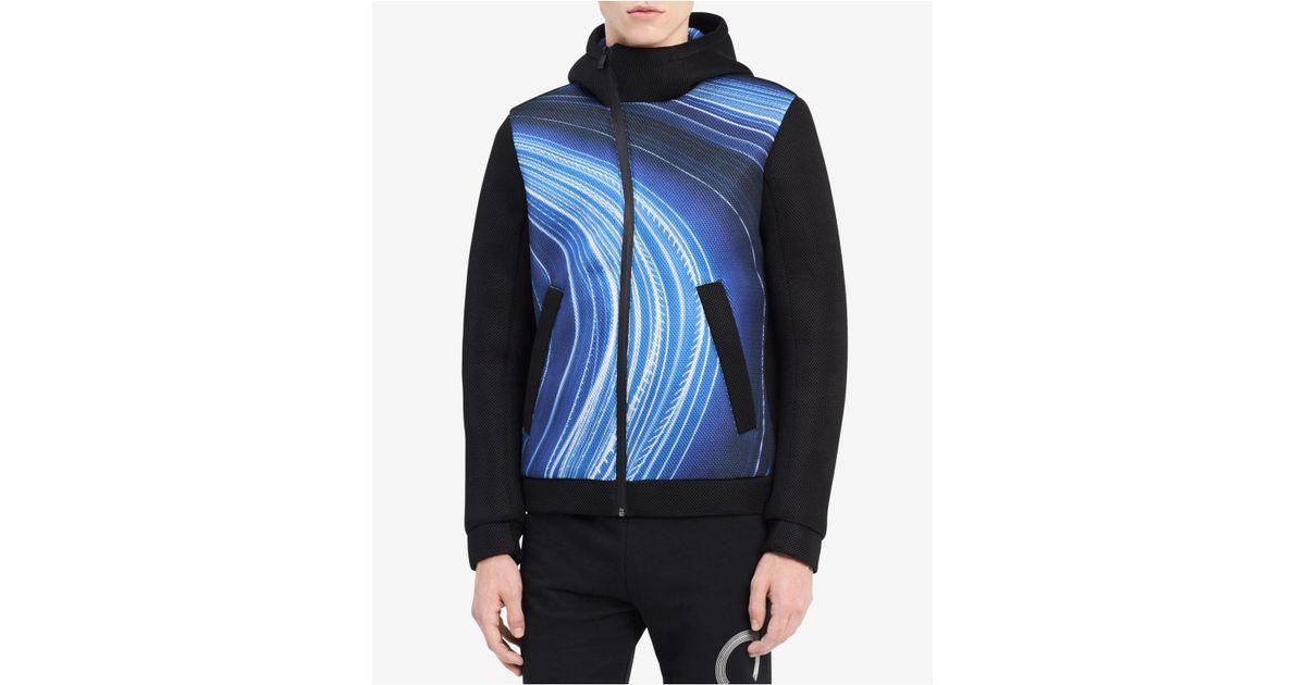 CALVIN KLEIN 205W39NYC Blue Men's Ck One Printed Asymmetrical Full zip Hooded Jacket for men