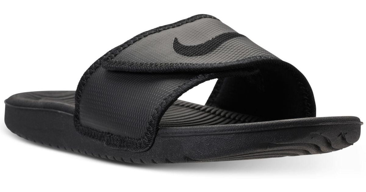 Nike Black Men's Kawa Adjustable Slide Sandals From Finish Line for men