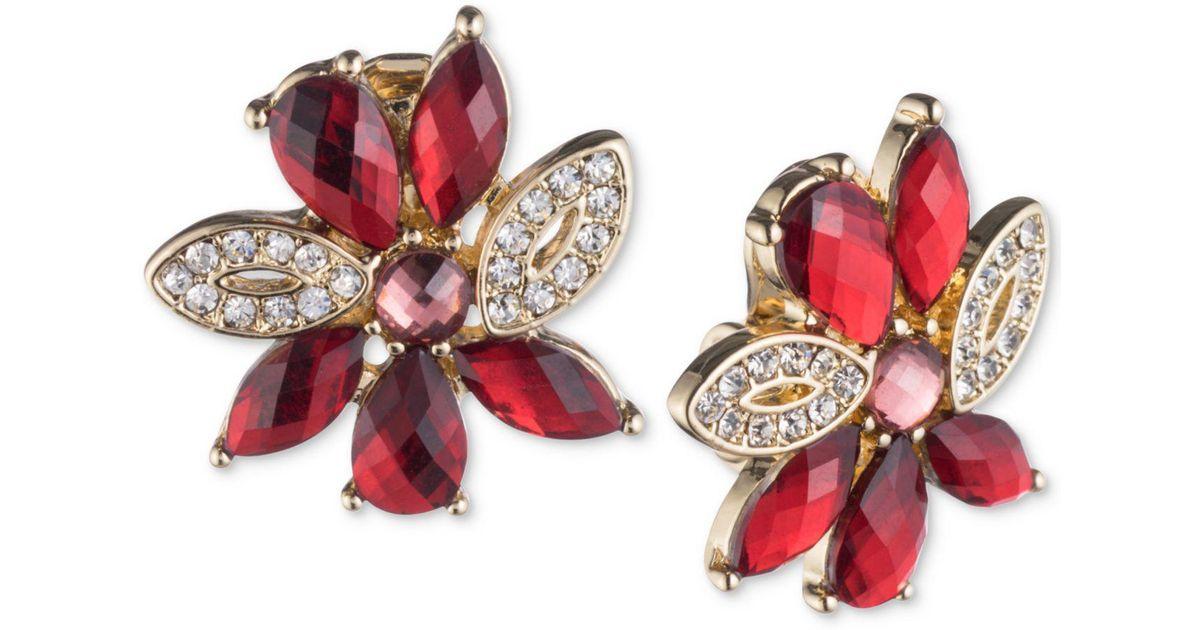 898018ad7 Anne Klein Gold-tone Pavé & Red Stone Flower Clip-on Stud Earrings in  Metallic - Lyst
