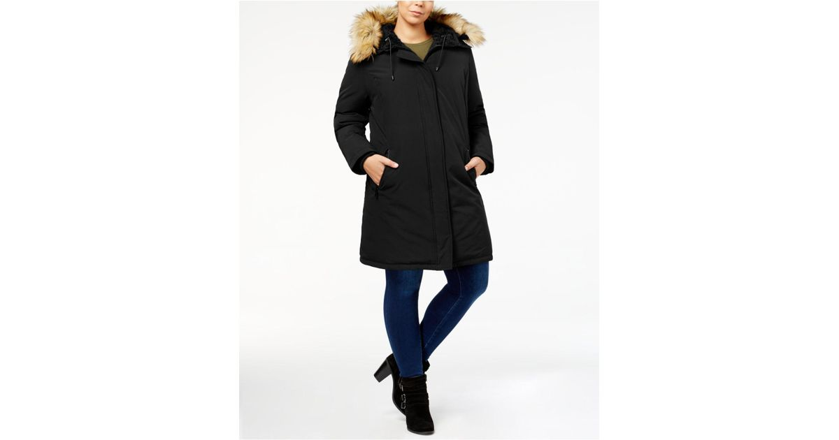 0325f18347c Lyst - Vince Camuto Plus Size Faux-fur-lined Hooded Puffer Coat in Black