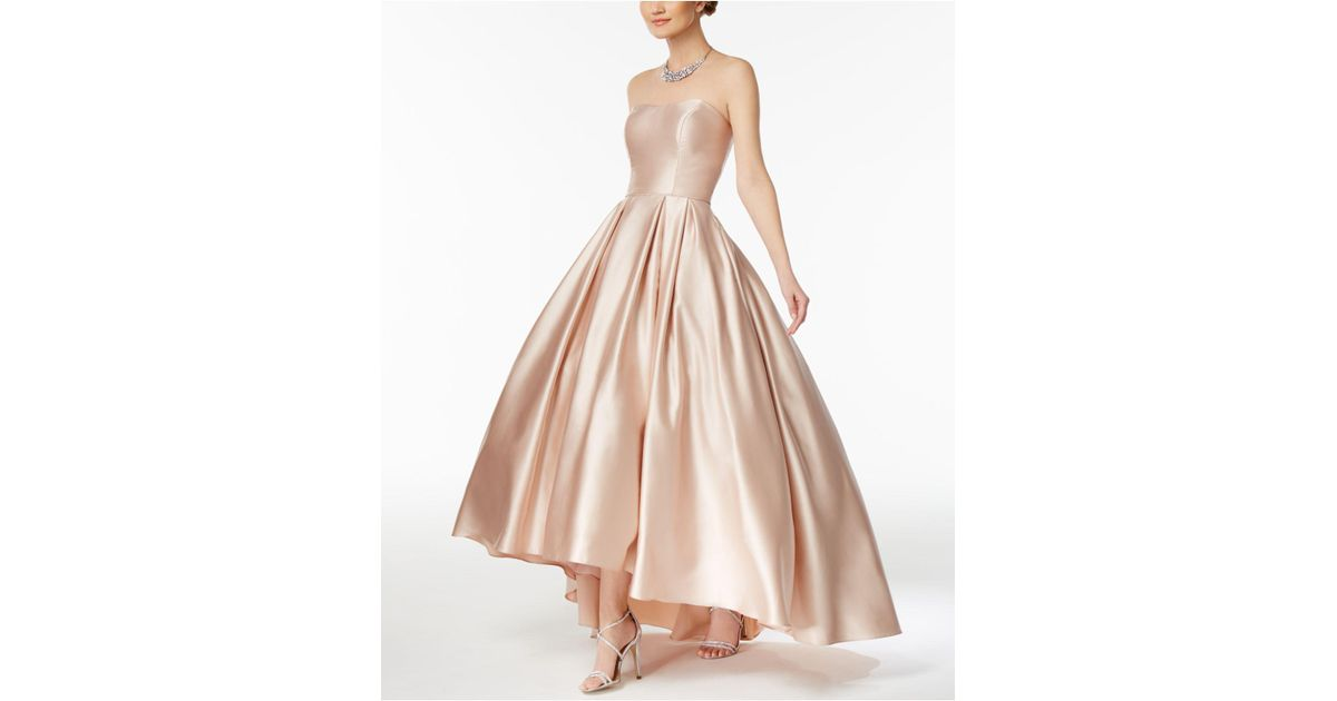 Lyst - Betsy & Adam Strapless High-low Ball Gown in Natural