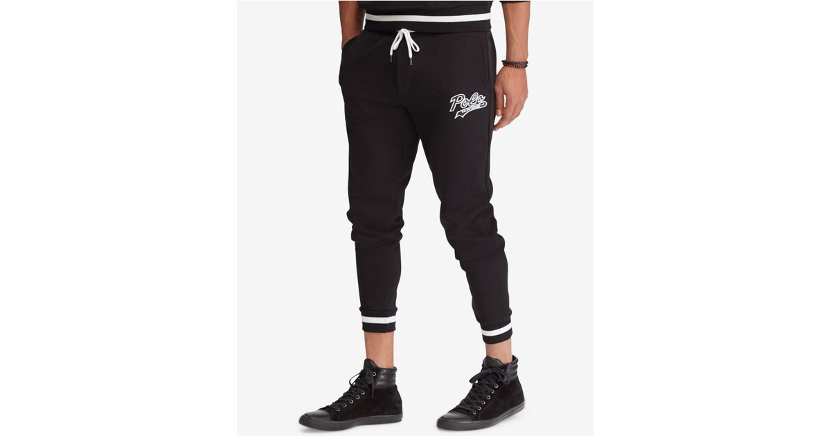 b320b4a66 Polo Ralph Lauren Double-knit Graphic Jogger Pants in Black for Men - Lyst