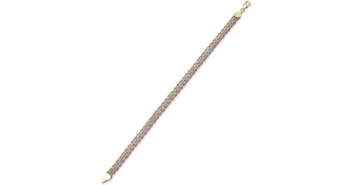 Macy S Metallic Tricolor Triple Strand Rope Bracelet In 10k Gold White And Rose