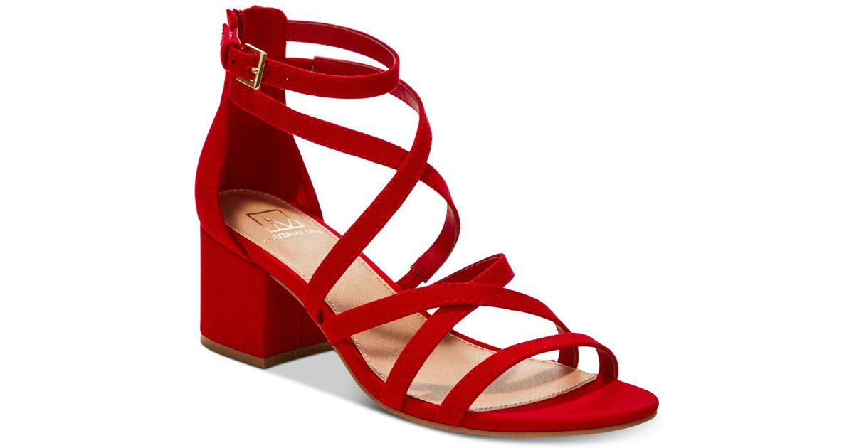 9f23192f725 Material Girl Red Inez Block-heel Sandals, Created For Macy's