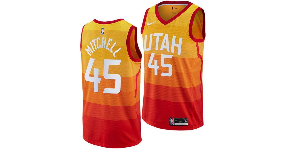 superior quality 9836e e6a29 Nike Yellow Donovan Mitchell Utah Jazz City Swingman Jersey 2018 for men