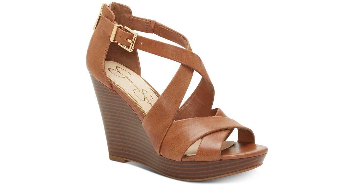 54b2890b2ab Lyst - Jessica Simpson Jakayla Wedge Sandal in Brown