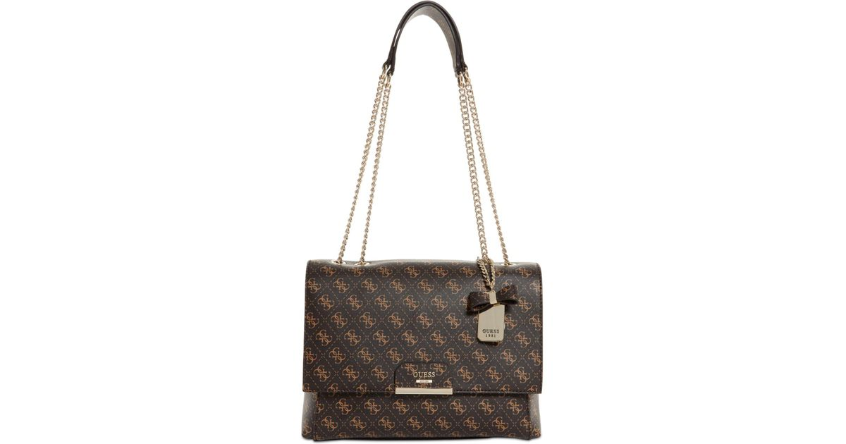 e7a9f42664 Lyst - Guess Ryann Signature Chain Shoulder Bag in Brown