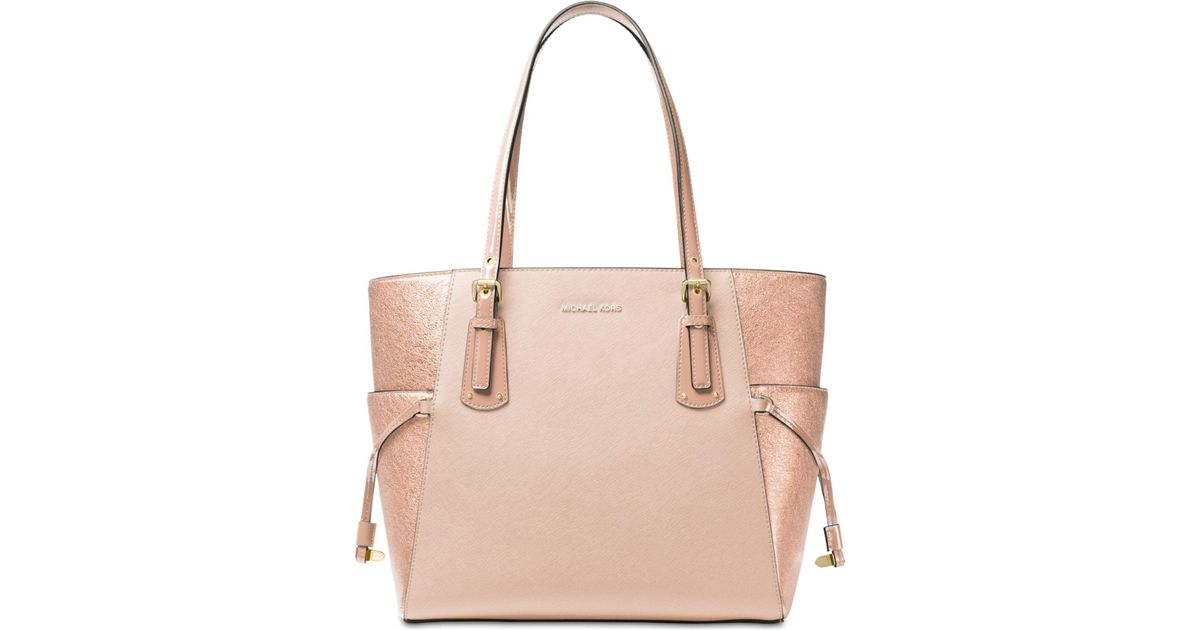 22db74861fa0 Michael Kors Voyager East West Signature Tote in Pink - Lyst