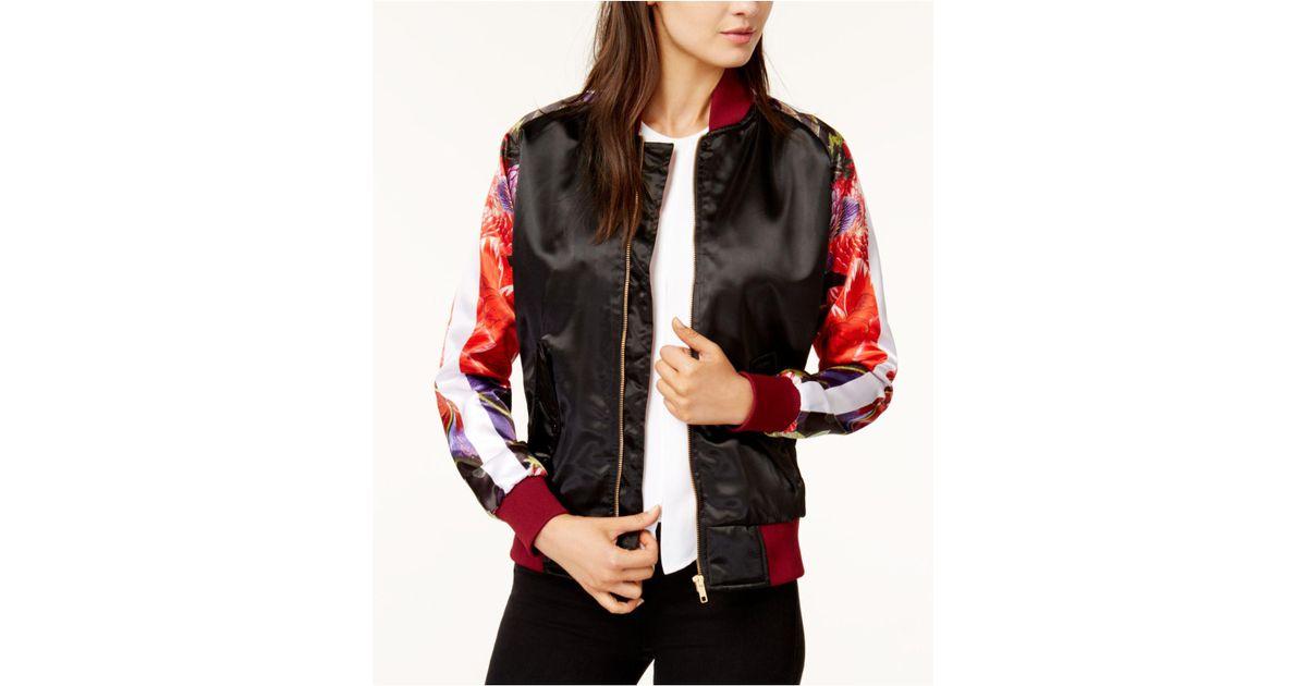 fa088a6582269 Chrldr Black True Romance Printed-sleeve Satin Bomber Jacket