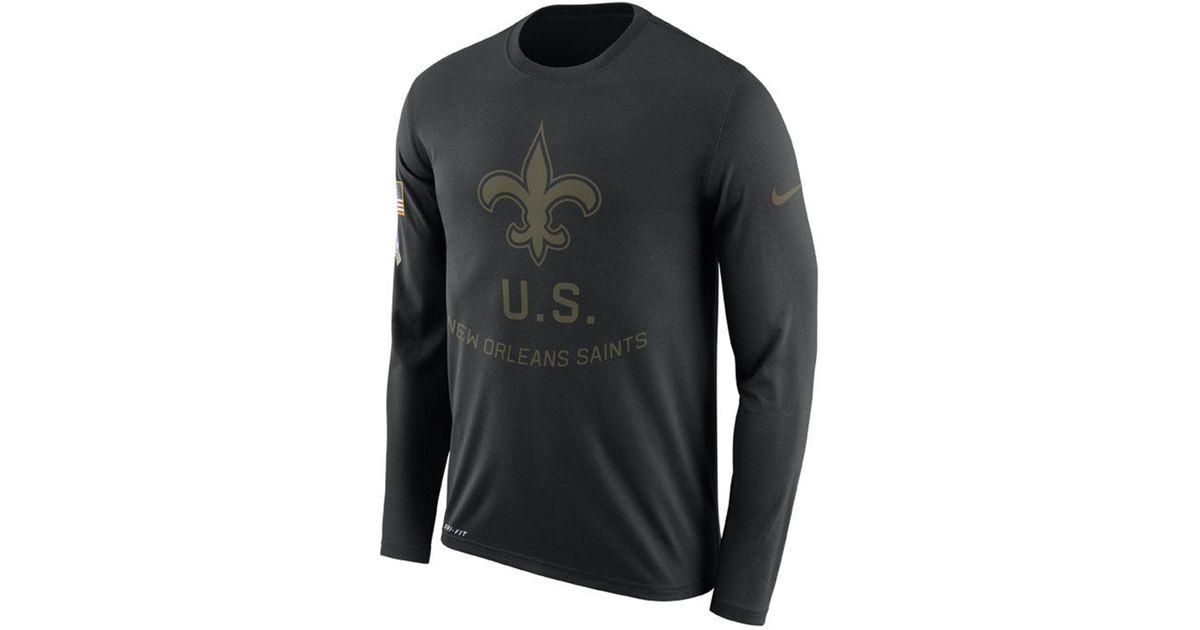 on sale eec42 9846f Nike Black New Orleans Saints Salute To Service Legend Long Sleeve T-shirt  for men