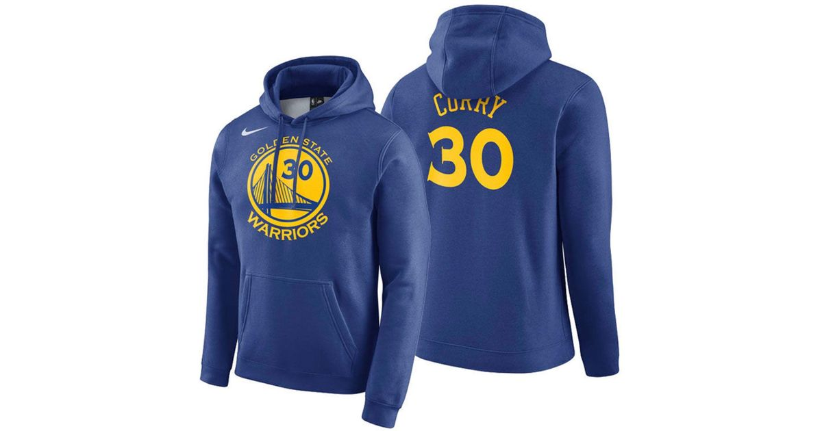 the latest d2159 90774 Nike Blue Stephen Curry Golden State Warriors Icon Player Name & Number  Essential Hoodie for men