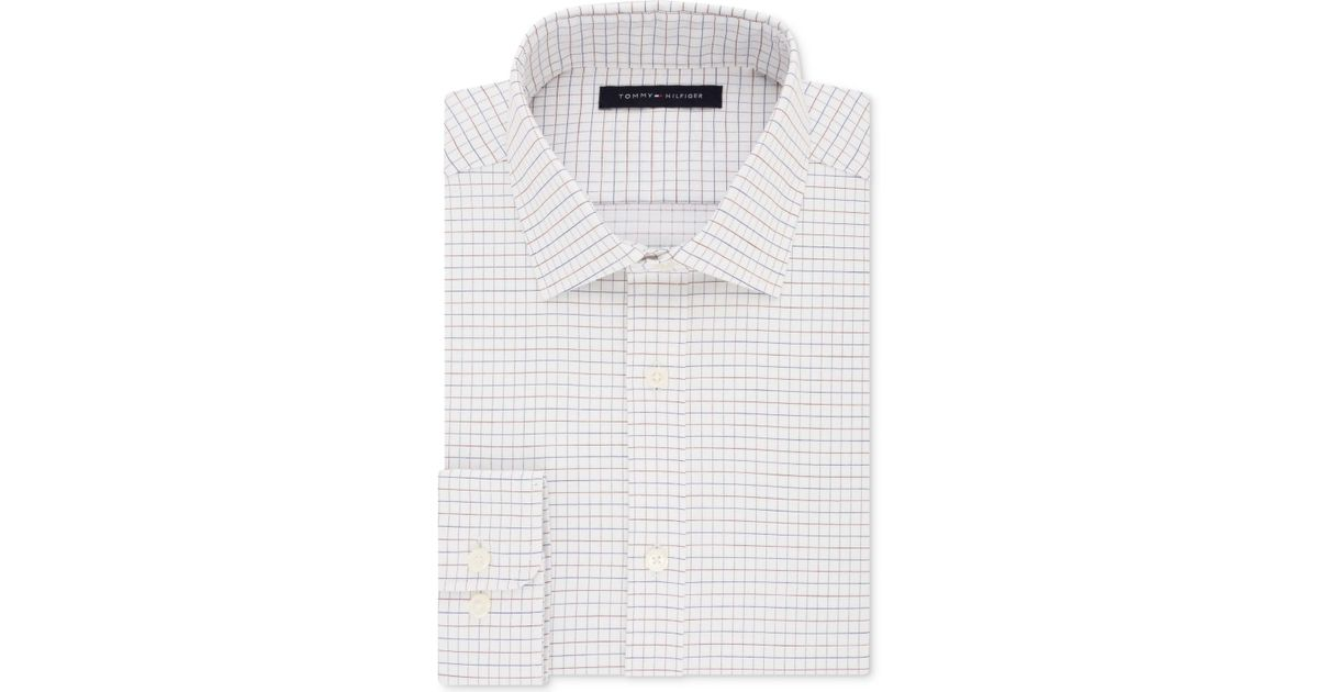09cbbc1e Tommy Hilfiger Men's Fitted Performance Stretch Flex Collar Check Dress  Shirt in White for Men - Lyst
