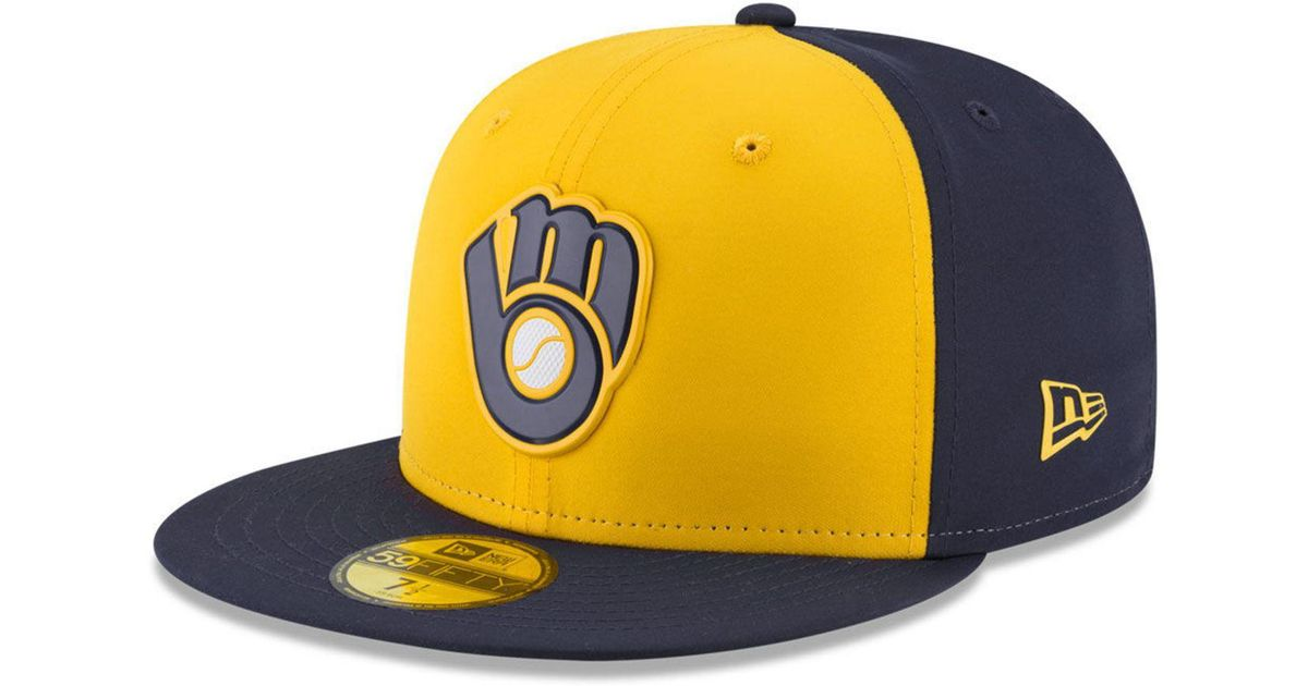 8c3426c8 Lyst - KTZ Milwaukee Brewers Batting Practice Pro Lite 59fifty Fitted Cap  in Yellow for Men