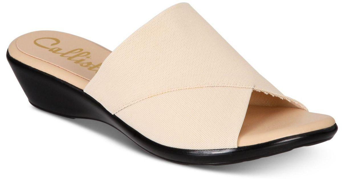 429983777e7f Lyst - Callisto Shindy Slide Wedge Sandals