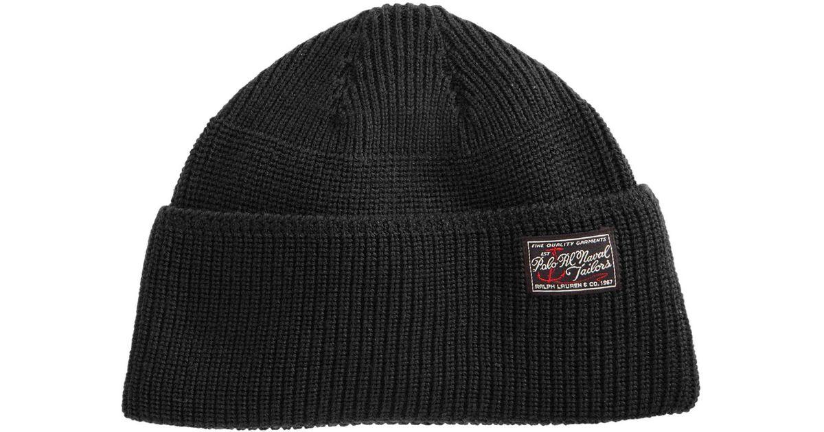 8e520f1c2 Polo Ralph Lauren Black Wool Naval Watch Hat for men