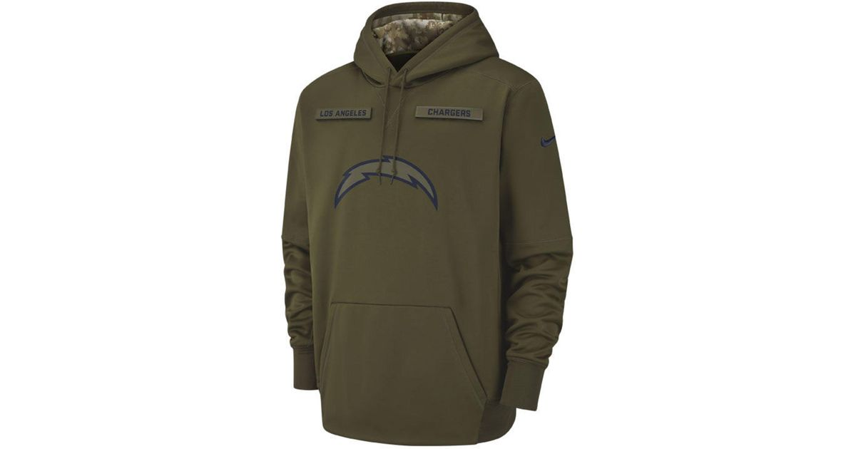 best website 8283c c305a Nike Green Los Angeles Chargers Salute To Service Therma Hoodie for men