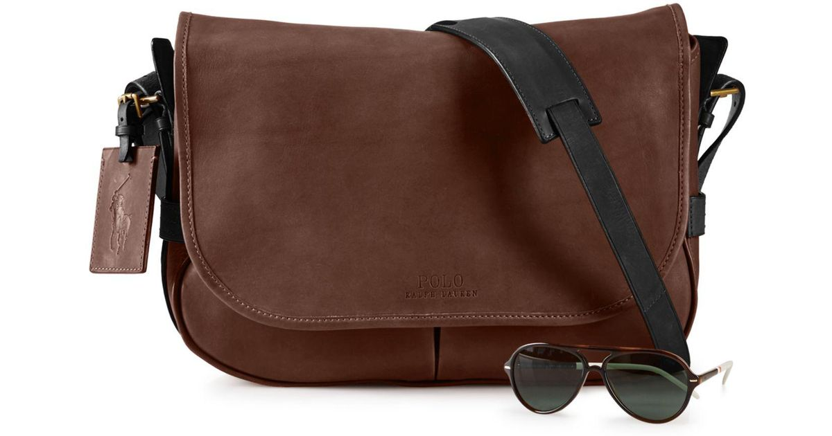 Lyst - Polo Ralph Lauren Two-toned Leather Messenger Bag in Brown for Men 5ce1e07d90c27
