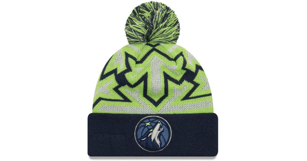 5ff4ae987 KTZ - Green Minnesota Timberwolves Glowflake Cuff Knit Hat - Lyst