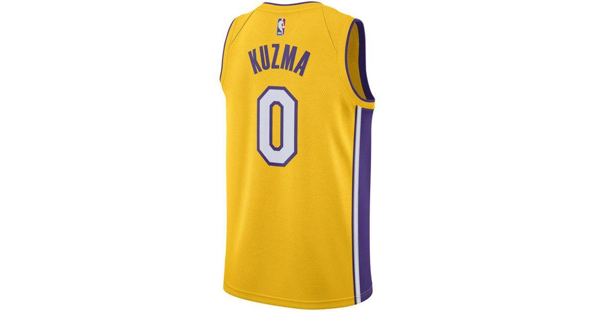 c531ba60a98 Lyst - Nike Kyle Kuzma Los Angeles Lakers Icon Swingman Jersey in Metallic  for Men