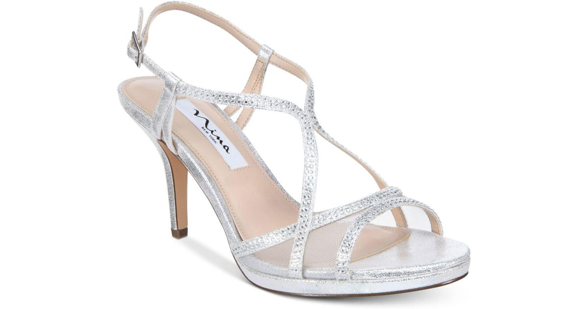 5498f4aaed1b3 Lyst - Nina Blossom Strappy Embellished Evening Sandals in Metallic