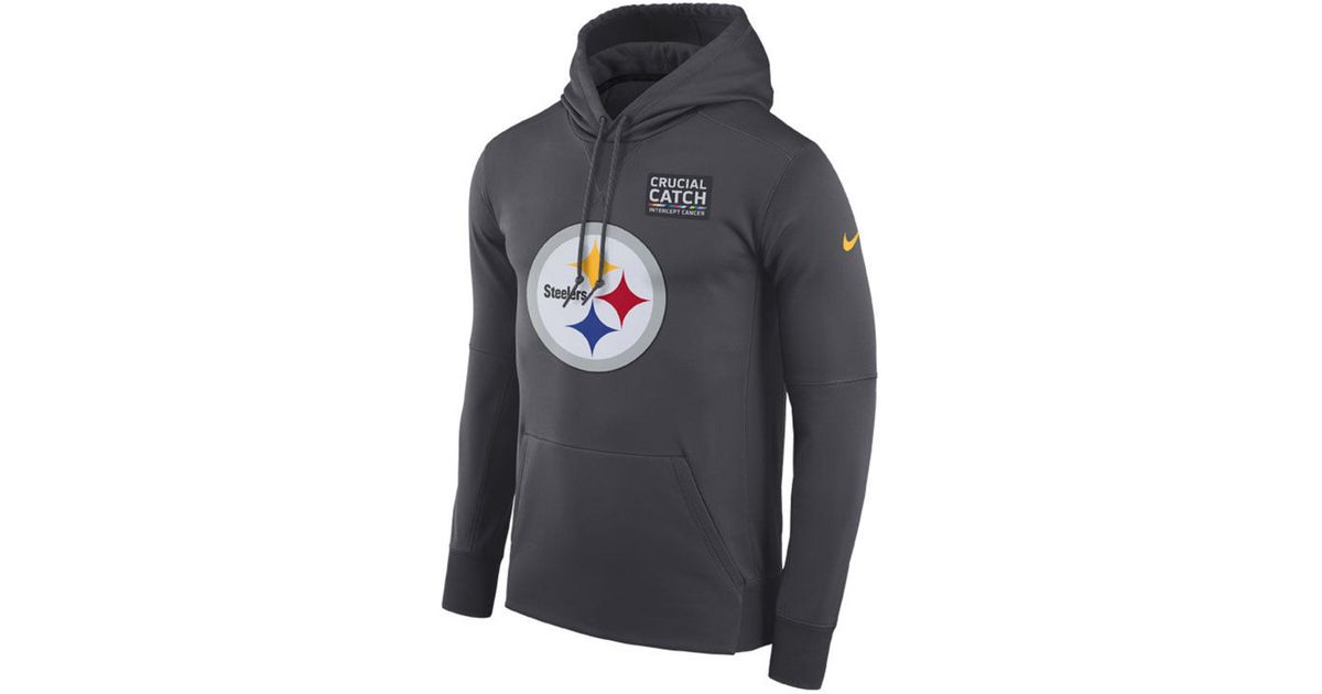 best service ddd98 67035 Nike Gray Pittsburgh Steelers Crucial Catch Therma Hoodie for men