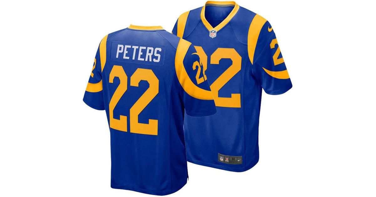 detailed look b5590 5abec Nike Blue Marcus Peters Los Angeles Rams Game Jersey for men