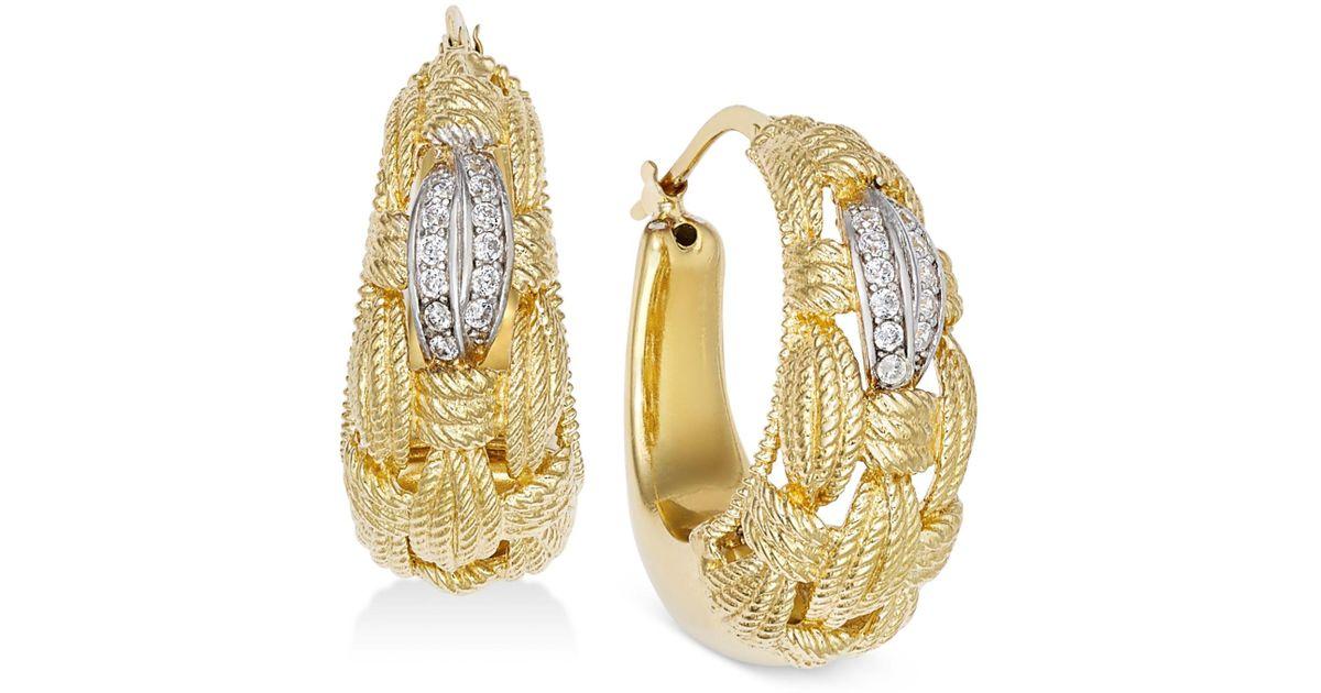 16b8d4e0699ec Macy's Metallic Diamond Textured Weave Hoop Earrings (1/4 Ct. T.w.) In 14k  Gold-plated Sterling Silver