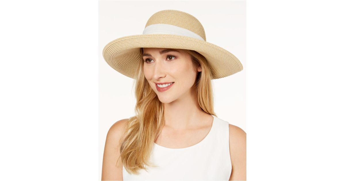 9988345d825 Lyst - Nine West Packable Bow Scarf Floppy Sun Hat in Natural